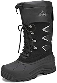 NORTIV 8 Men's Waterproof Hiking Winter Snow Boots Insulated Fur Liner Lightweight Outdoor Tall Bo