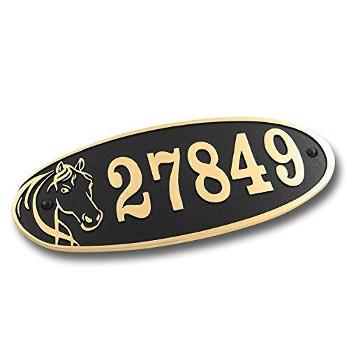 House Number Address Plaque for Horse Lovers. Cast Metal Personalised Yard Or Mailbox Sign with Oodles of Color, Number and Letter Options. Handmade in England by The Metal Foundry Just for You