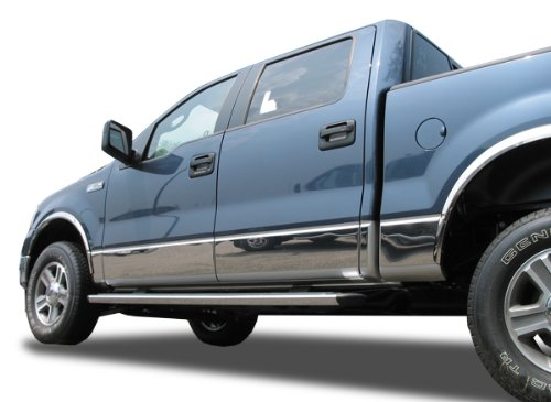Cab Short Bed Rocker Panel (Made In USA! 07-2013 GMC Sierra Crew Cab 6.8' Short Bed Rocker Panel Chrome Stainless Steel Body Side Moulding Molding Trim Cover 9