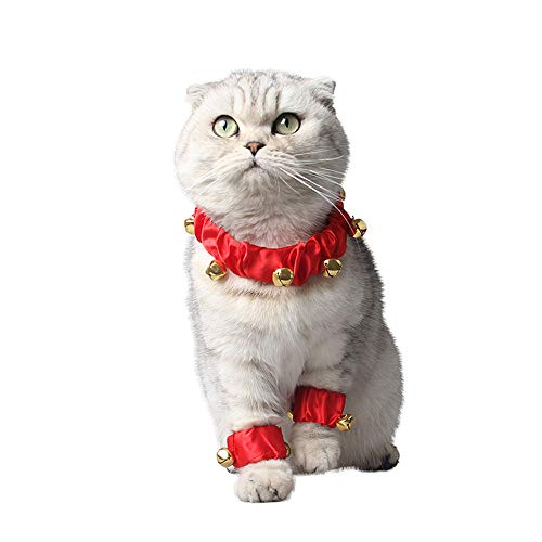 Cywulin Jingle Bells Jingling Christmas Pet Dog Cat Collar with Leg Wrap Holiday Accessories Scarf Bandana Costume Supplies (Red, Small) ()