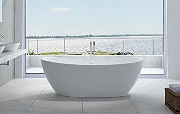 Freistehende Badewanne aus Mineralguss HAWAII STONE - 180 x 85 cm ...