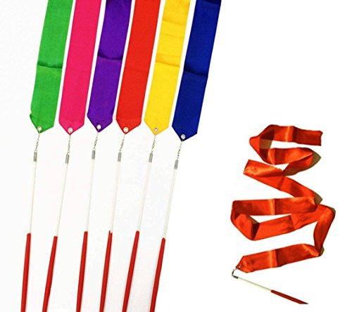 DoTebpa 6Pcs 39Inch Gymnastics Dance Ribbon Rhythmic Color Ribbon with Stick Dance Streamers for Girls Kids (Dance Cane Green)