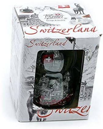 avec Corne Mat//Cravate Drapeau Suisse et Sujets suisses 6 cm TopSpirit Boule /à Neige 3D Switzerland Black /& White
