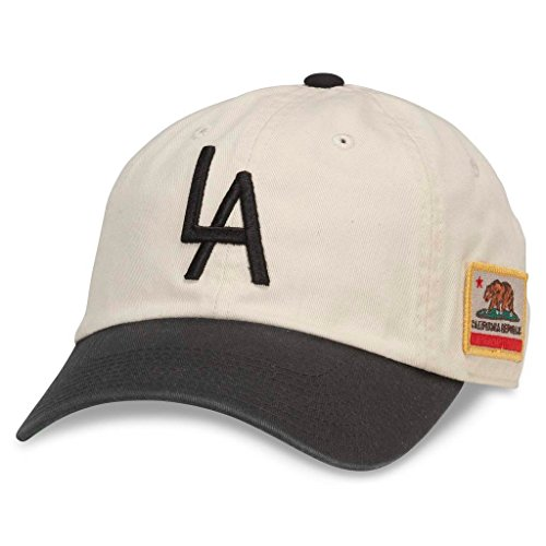 (American Needle United Slouch Casual Baseball Dad Hat, Los Angeles, Ivory/Black)