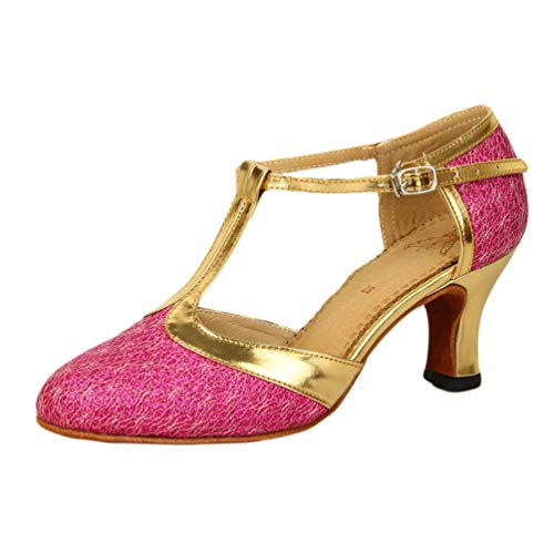 Tango Shoes Glitter T High Rose Strap Womens Closed Dance Toe Heel Latin Salsa CHENYANG Ballroom OAq0nw