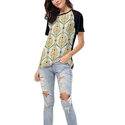 (Laki-co Women's Summer Short Sleeve - Bee Print Casual Raglan Tee Baseball Tshirts Tops Blouse XL)