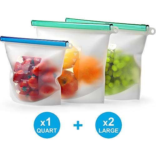 Reusable Silicone Food Storage Bag Set of 3 by KivaWorld  LARGE SIZE 50 OZ amp QUART Freezer Bags Airtight Seal  Hermetic Reusable Produce Bags  Cooking Sous Vide Bags Clear  Fresh Lunch amp Snack