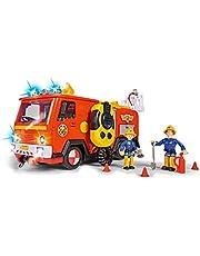SIMBA 109251085 Brandweerman Sam Ultimate Jupiter, brandweerauto met 2 figuren, licht en geluid, waterspuitfunctie, lier, vanaf 3 jaar, Meerkleurig