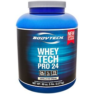 Cheap BodyTech Whey Tech Pro 24 Protein Powder Protein Enzyme Blend with BCAA's to Fuel Muscle Growth Recovery, Ideal for PostWorkout Muscle Building Vanilla Ice Cream (5 Pound)