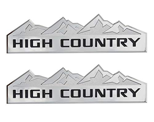 Yuauto 2Pc HIGH Country Car Emblem, Replacement for Badges Door Tailgate 3D Nameplate for Chevrolet Silverado 1500 2500HD Sierra 3500HD (Chrome)