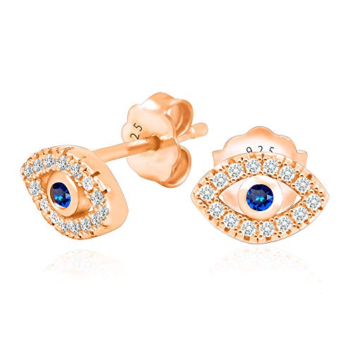 (14k Rose Gold Plated 925 Sterling Silver Cubic Zirconia Mini Evil Eye Jewish Post Stud Earrings)
