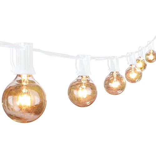 (G40 String Lights with 25 Globe Bulbs-UL Listed for Indoor/Outdoor Commercial Decor, Wedding Lights, Patio Lights, Outdoor String Lights, Globe Lights, Backyard Lights, 25Ft White Wire)