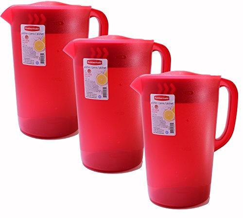 Rubbermaid Gallon Pitcher - Red (Pack of 3