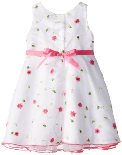 Youngland Girls 2-6X Floral Print Dress with Short Sleeve Sweater, Pink/White, 2T