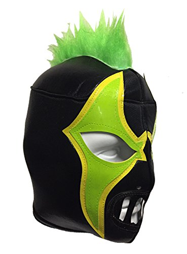 CRAZY CLOWN Adult Lucha Libre Wrestling Mask (pro-fit) Costume Wear - Black/Green