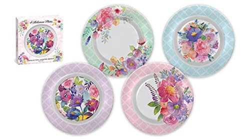 Punch Studio Floral Peacock Boxed Set of 4 Melamine Plates (44336)  sc 1 st  Plate Dish. & Floral Melamine Plates. Punch Studio Floral Peacock Boxed Set of 4 ...