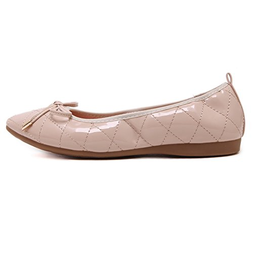 VogueZone009 Womens Soft Material Pointed Closed Toe Pull-On Flats-Shoes with Bowknot, Apricot-Knot, 35