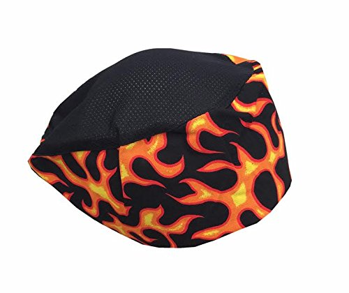 Original CHEFSKIN Flames Beanie Hat with Mesh Top for Chefs Bakers ()