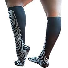 Xpandasox Women's Plus Size/Wide Calf Cotton Blend Zebra/Solid Knee High Socks
