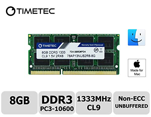 Timetec Hynix IC Apple 8GB DDR3 1333MHz PC3-10600 SODIMM Memory Upgrade for MacBook Pro 13-inch /15-inch /17-inch Early/Late 2011, iMac 21.5-inch Mid/Late 2011,27-inch Mid 2010/2011 (8GB)
