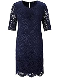 Women's Stretch Lined Plus Size Lace Shift Dress with...
