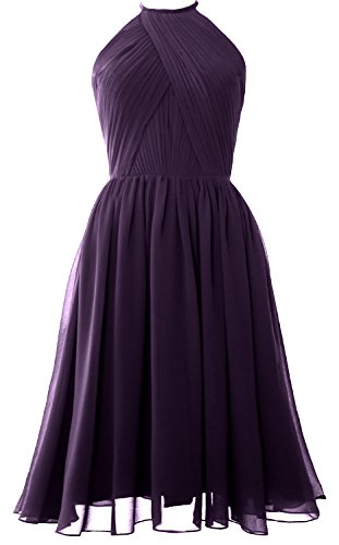 Halter Back with MACloth Short Chiffon Plum Open Bridesmaid Women Dress Gown Cocktail U5WWxpvSO