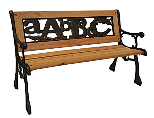 ABC Junior Park Bench — Cast Iron Kids Park Bench With Iron Back For Yard or Garden Product SKU: PB10016