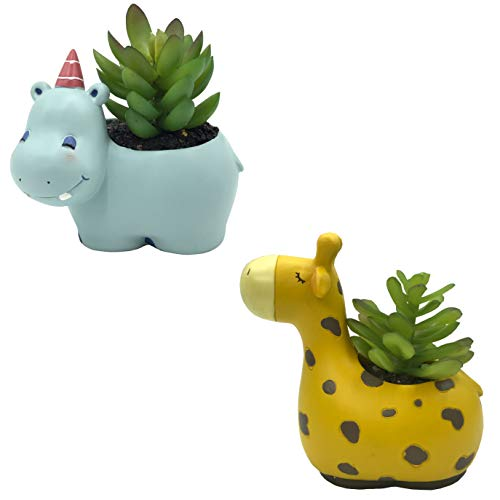 Everyday Better Life 2 PCS Set Cute Cartoon Animal Hippo Giraffe Shaped Succulent Cactus Vase Flower Pot for Home Garden Office Desktop Decoration (Plants Not Included)