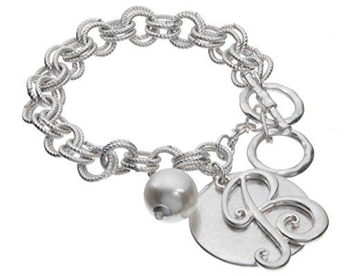 Jewelry Nexus B Monogram Silver-Tone Overlay Medallion Bracelet Imitation Pearl & Toggle Closure