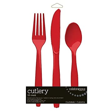 Creative Converting 813548 Classic Red Cutlery Assortment 216 Counts