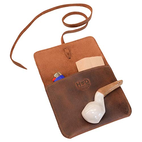 Hide & Drink, Leather Tobacco & Pipe Pouch/Storage/Case/Holder/Portable/Smoking Accessories/Travel, Handmade Includes 101 Year Warranty :: Bourbon Brown