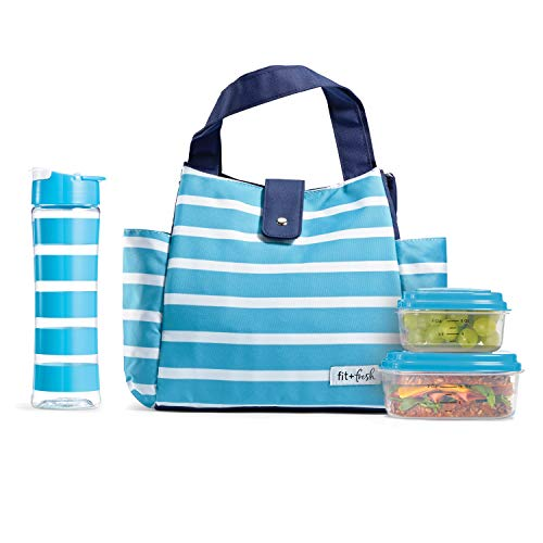 Fit & Fresh Westport Insulated Lunch Bag Cooler Bag Tote Bag Kit for Women/Work/Picnic/Beach/Sporting Event, Reusable Containers, Water Bottle, Caribbean Resort Stripe