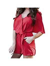 Kingfansion Women Romper Half Sleeve Jumpsuit Playsuit Overall Shorts with Pockets