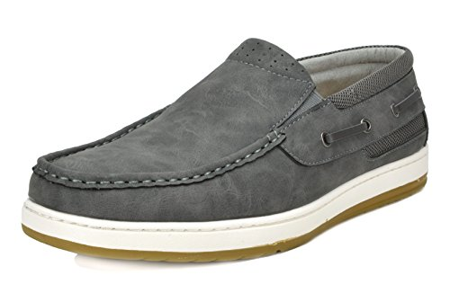 BRUNO MARC NEW YORK Men's Pitts_15 Grey/Grey Penny Loafers Moccasins Boat Shoes Size 10.5