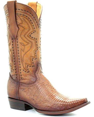 Corral Mens Sand Lizard Cowboy Boot Snip Toe - C3236 Sabbia