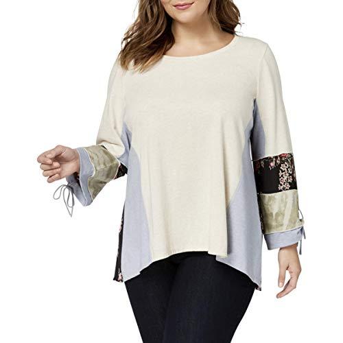 (Style & Co. Womens Plus Striped Floral Print T-Shirt Multi)