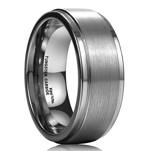 King Will Basic 8mm White Tungsten Ring Wedding Band Step Edge Brushed Center Any Size 9