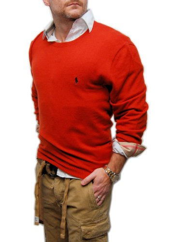 Polo Ralph Lauren Mens Cashmere Crewneck Italian Sweater Rust Orange Red Large (Italian Cashmere Sweater compare prices)