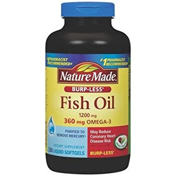 Nature Made Burp-less Fish Oil, 1200 Mg, 360 mg Omega-3, 250 Liquid Softgels