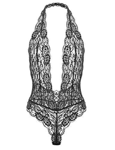 Garmol Women's Deep V Plunging Teddy Lingerie Halter Lace Babydoll Bodysuit Black