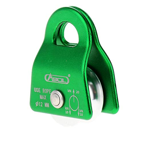 SM SunniMix 20kN Swing Pulley Single Sheave Prusik Minding Pulley Outdoor Sports Hardware for Rope Climbing Rappelling Mountaineering - Green