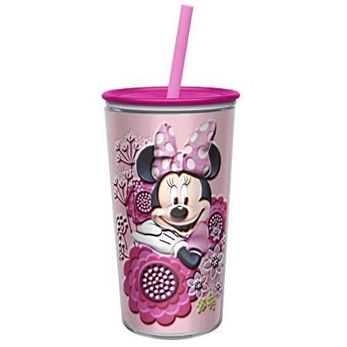 Zak! Designs Insulated Tumbler, Minnie Mouse, Screw-on Lid with Straw, Double Wall Construction, BPA-free and Break-resistant, 10.5oz