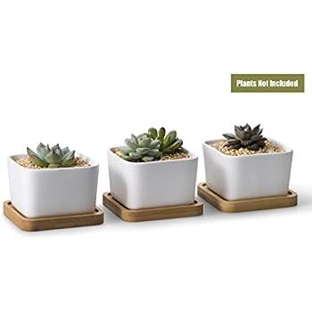 3.54 Inch White Ceramic Contemporary Square Design Succulent Plant Pot/  Cactus Plant Pot With Bamboo