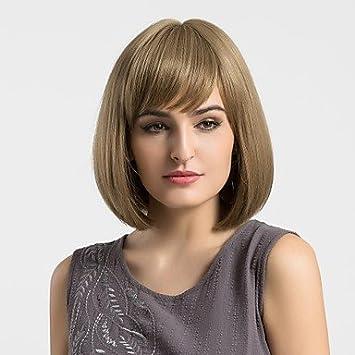 Pelucas sintéticas Recto Corte Bob con Flequillo Marrón Mujer Sin Tapa Peluca Natural Media Pelo sintético