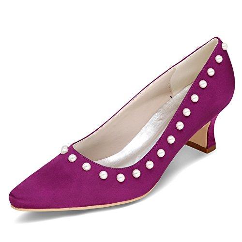 35 Toe Perla Purple Raso Elobaby A Donna Punta da Sposa da Tallone di Dimensione Kitten 42 5cm con Classica Scarpe da Fibbia 6 0xxafnq6z