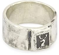 "Pyrrha ""talisman"" Men's Sterling Silver Mini Stag's Head Band Ring from Pyrrha"
