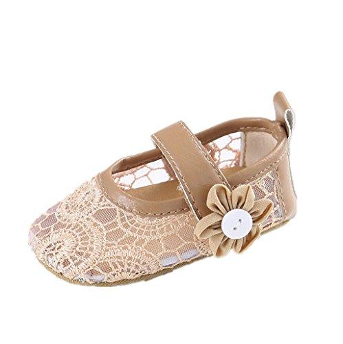 Bebé Prewalker Zapatos Auxma Zapatos recién nacidos de la flor del cordón del bebé primeros zapatos que caminan para 3-6 6-12 12-18 meses caqui