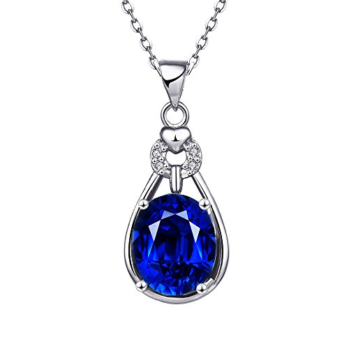 Lovav Party Prom Inlaid Blue Oval Crystal Platinum Plated Women's Elegant Pendants Necklace