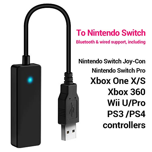 Price comparison product image Rocketek Wireless Controller Adapter for Nintendo Switch Console, Controller Converter Compatible with PS3, PS4, Xbox 360, Xbox One X/S, PC (X-Input Mode), Wii U/Pro, Switch Controllers etc