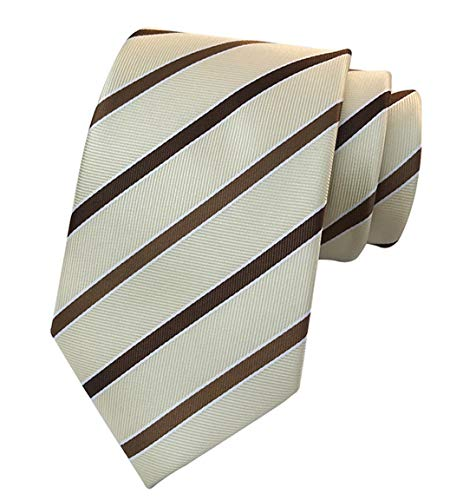MENDENG Classic Striped Brown Champagne Streak 100 Silk Men's Tie Necktie Ties (Brown Necktie Striped)